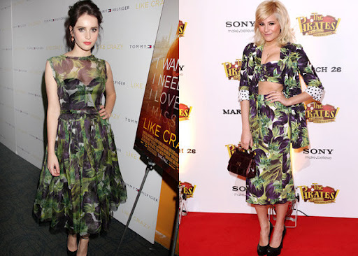 957ae6e8 Singer Pixie Lott opted for the same print for a premiere back in March.  She went for the crop top and knee-length skirt version.